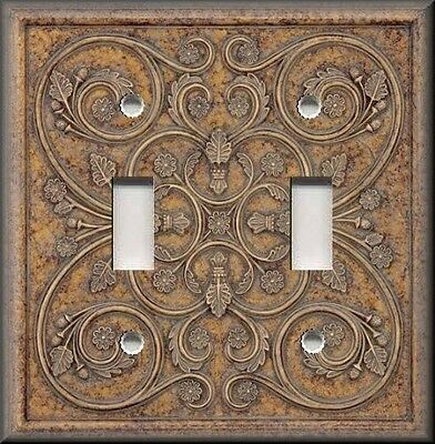 Metal Light Switch Plate Cover - Decorative French Design Brown Tan Home Decor