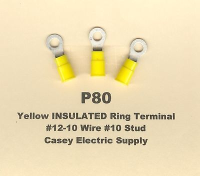 50 Yellow Insulated RING Terminal Connectors #12-10 Wire AWG #10 Stud MOLEX