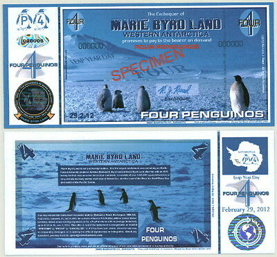 New Leap Year-Dated Marie Byrd Land Four Penguino Fantasy Specimen Banknote!!