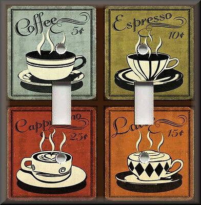Metal Light Switch Plate Cover - Vintage Cafe Coffee Signs Design Home Decor