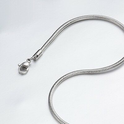"0.9mm-3.2mm 16""-40"" Silver Stainless Steel Snake Necklace Chain HN3 USA Seller"