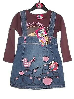New Girls Dora The Explorer 2 Pc Outfit Denim Pinafore Dress &l/s Top 1-4 Years