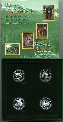 """1996 Canada KM-PS34 4 Pc. Silver 50 cent Proof Set """"Little Wild Ones"""""""