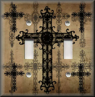 Metal Light Switch Plate Cover - Old World Crosses Brown Home Decor Crosses