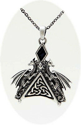 Double Dragon Crawling Triangle Celtic Style Pendant Necklace Jewelry.new