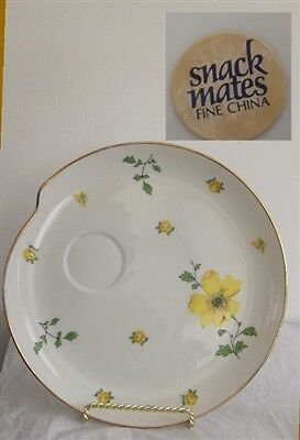Lefton Snack Mates Fine China Snack Plate w/ Yellow Flowers Gold Trim