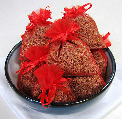 Set of 10 Lavender Sachets made with Red Organza Bags