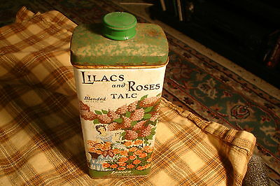 Vintage Lilacs and Roses Blended Talc Tin W/Powder