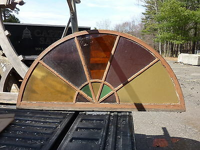"c1880 HUGE arched STAIN glass window frame 72"" x 36"" x 1 3/8"" ONE cracked pane"