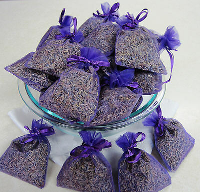 Set of 30 Lavender Sachets made with Purple Organza Bags