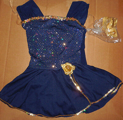 NWT Small c h Tap COSTUME Navy Gold Metallic w/Hat Rose Girls 4-6 Dance Pageant