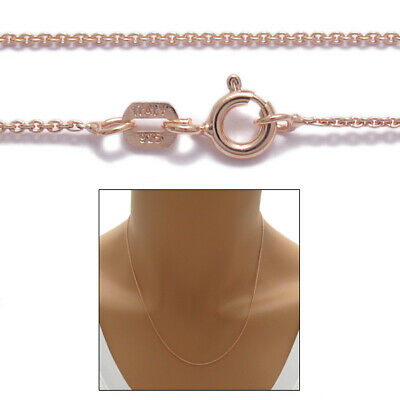 925 Sterling Silver Rose Gold Rolo Chain Necklace 0.7mm 020