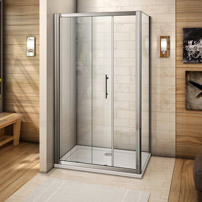 Aica 1200X700mm Sliding Shower Enclosure Cubicle Glass Side Panel and Stone Tray