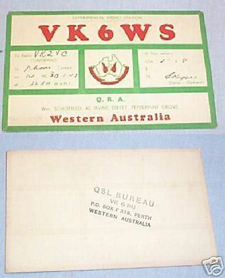 #d11. Qsl Card - 1947 Australian Radio Contact Card - Vk6Ws, Peppermint Grove Wa