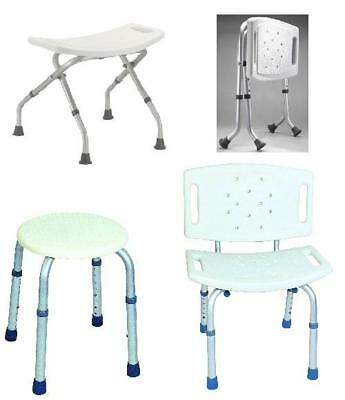 Folding Bath Shower Seat Stool Bench Adjustable Height Lightweight Aluminium