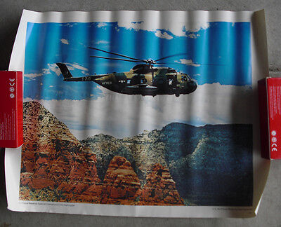 Vintage 1970s US Air Force Reserves CH3 Helicopter in Air Print LOOK