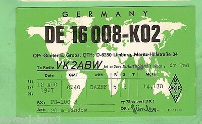 #d32. Qsl Card - 1967  Radio Contact Card - De 16008-K02, Limburg, Germany
