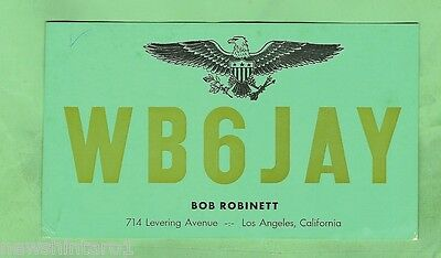 #d32. Qsl Card - 1965  Radio Contact Card - Wb6Jay  Los Angeles, California, Usa