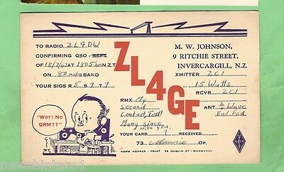 #d32. Qsl Card - 1947  Radio Contact Card - Zl4Ge, Invercargill New Zealand