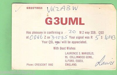 #d32. Qsl Card -  1965 Radio Contact Card - G3Uml, Ilford, Essex, England