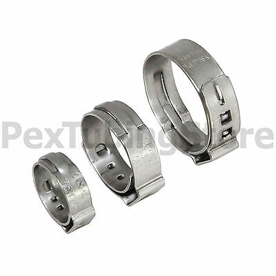 """(100) 1/2"""" PEX Stainless Steel Clamps SSC"""