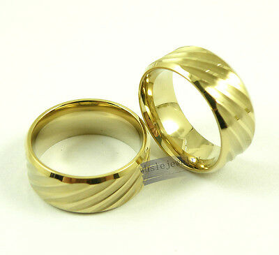 Wholesale 12pcs Mens 316L Stainless Steel Gold Cool Sculptured Wedding Rings