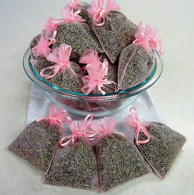 Set of 50 Lavender Sachets made with Pink Organza Bags
