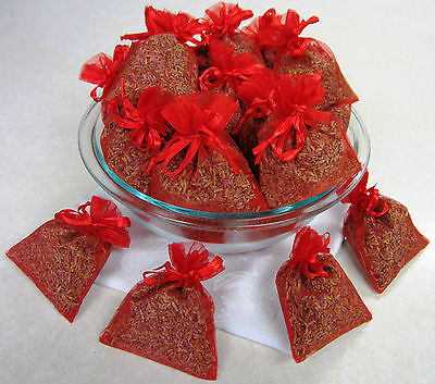 Set of 50 Lavender Sachets made with Red Organza Bags