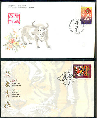 CANADA FDC,YEAR of THE OX,TIGER,2 X FIRST DAY COVERS