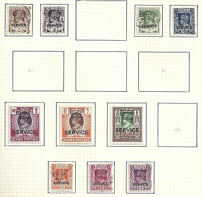 Burma collection of 10 Official stamps  CANC/MLH  VF