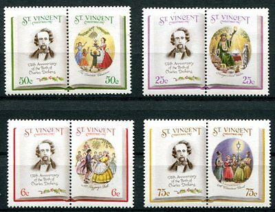 Saint Vincent Charles Dickens - English Literature Set Of  8 Stamps Complete.