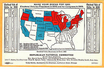 Political Card - Republican National Committee Electoral Vote 1920 for States