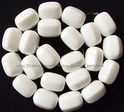 Beautiful Cylindrical Faceted White China Porcelain Loose Beads 15''