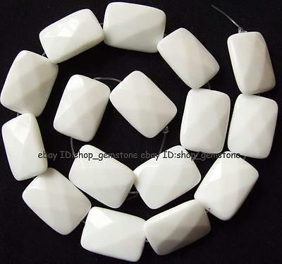 Beautiful Rectangle Faceted White China Porcelain Loose Beads 15''