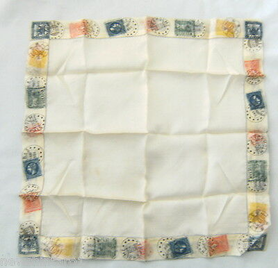 #d35. Old Silk Handkerchief With Postage Stamp Design Bordering