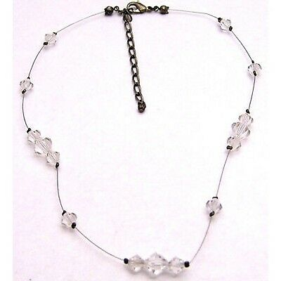 "Vintage 15.5+3"" 8mm Wire Necklace w/ Clear Beads Placed Sporadically Silver Tone"