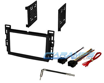 SATURN DOUBLE 2 DIN CAR STEREO INSTALLATION DASH TRIM BEZEL KIT W/ WIRE HARNESS