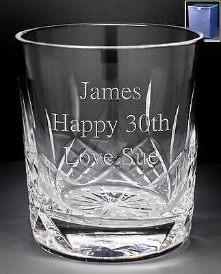 Personalised 24/% Lead Crystal Whisky Glass 40th 50th 60th Birthday In Blue Box