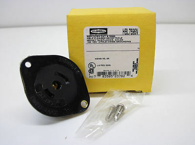 Hubbell HBL7596N Twist-Lock Flanged Receptacle, 15A 125V 2-Pole 3-Wire Grounding