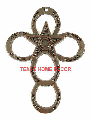 Horseshoe Wall Cross Cast Iron With Star Rustic Dark Brown 11x 8¼ in