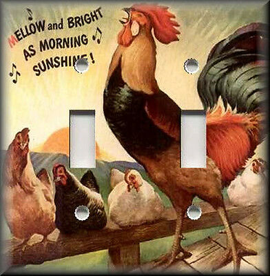 Metal Light Switch Plate Cover Vintage Sunshine Rooster Decor Kitchen Home Decor