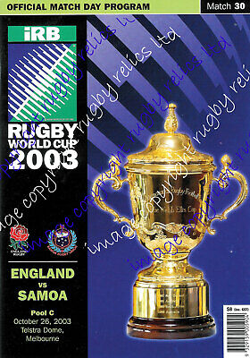 ENGLAND v SAMOA RWC 2003 PROGRAMME - RUGBY WORLD CUP - VERY GOOD CONDITION