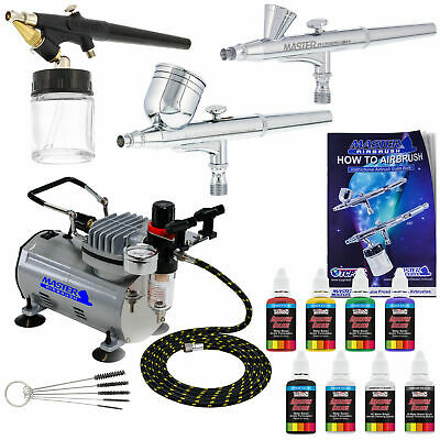Master 3 Airbrush, Air Compressor Kit, Holder 6 Primary Colors Acrylic Paint Set