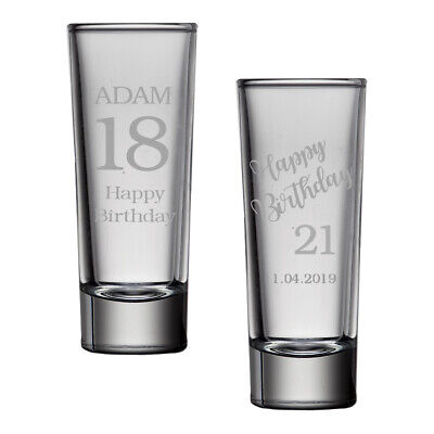 Personalised  2oz Tall Shot Glass 18th 21st 30th Birthday Gift Engraved Any Text