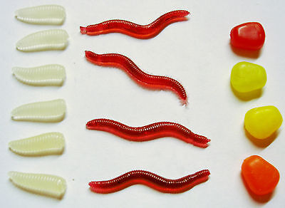 Fake Fishing Bait Pack. Worms Maggots & Sweet Corn Baits. Pack of 14 Baits