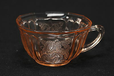 Mayfair Open Rose Pink Depression Glass Cup Hocking Glass Co. Octagon Shape