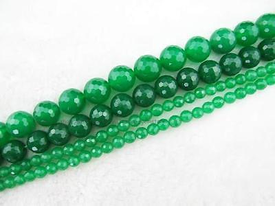 6mm8mm10mm12mm14mmRound Faceted Green Jade Loose Beads 15''New