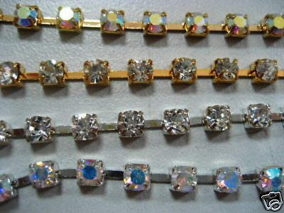Metal base glass Rhinestone Chains with settings 4.7mm Stone Belt Body only 1yd