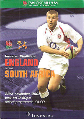 ENGLAND v SOUTH AFRICA 2002 RUGBY PROGRAMME