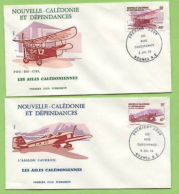 New Caledonia 1983 Aircrafts set on two First Day Covers